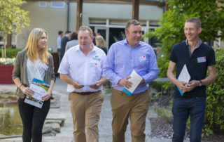 Niall Austin, Director and Founder of MooCall, and Kevin Nolan, Nolan Farming, with delegates.