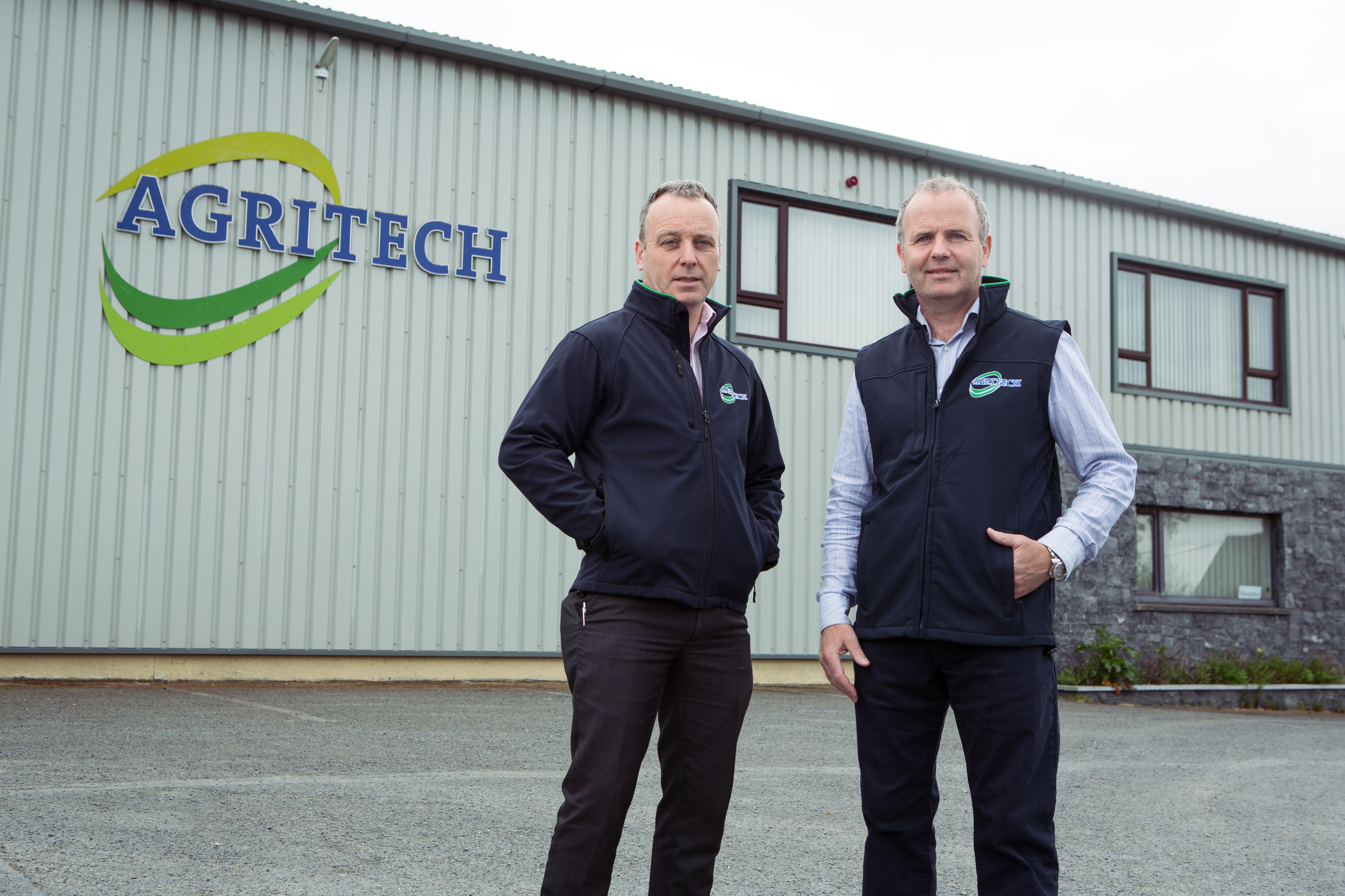 Brian and Seamus O' Slatarra at Agritech, Nenagh, following installation of 184 Photovoltaic panels.