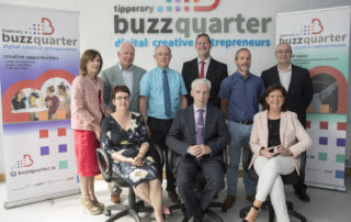 Launching BuzzQuarter - the space for digital creative entrepreneurs Back row: Attracta Lyons, TCC; Tom Hayes, Tipperary Economic & Enterprise Forum; Pat Slattery, TCC; Liam Brown, John Hannafin and Derek Blackweir, LIT Front: Ita Horan,Tipperary LEO; Joe McGrath, TCC; and Rita Guinan, Tipperary LEO