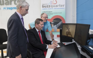 Dr. Liam Brown, Limerick Institute of Technology, showing Joe McGrath, Hayes, Margo and Pat Slattery, Director of Services, TCC the state of the art technology at BuzzQuarter